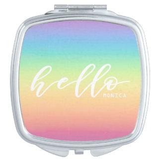 Moda en colores pastel de Ombre del arco iris hola Espejos Para El Bolso