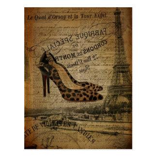 moda femenina de París del vintage elegante Postal