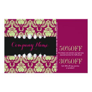 moda femenina del salón de belleza del damasco del folleto 14 x 21,6 cm
