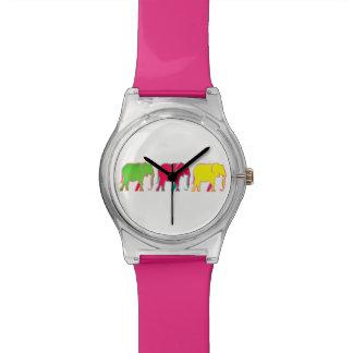 Moda femenina rosada de moda de los elefantes reloj de pulsera