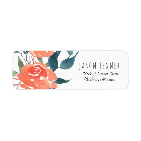 Moda floral del boda del rosa rojo de la acuarela etiqueta de remitente