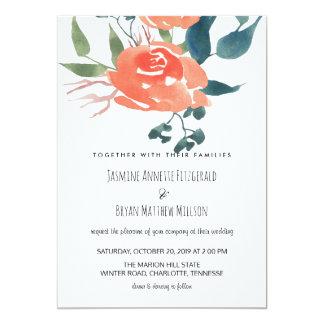 Moda floral del boda del rosa rojo de la acuarela invitación 12,7 x 17,8 cm