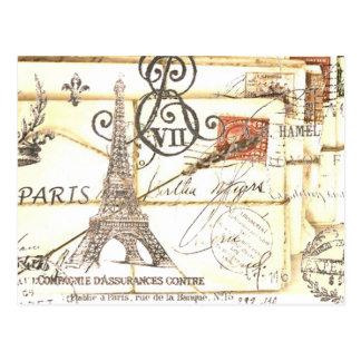 Moda floral femenina de París del vintage elegante Postal