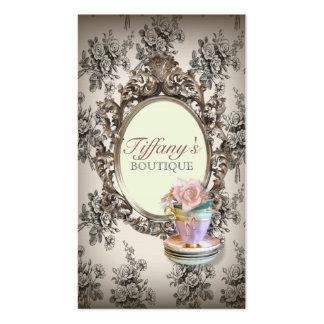 moda floral inglesa elegante de las tazas de té de plantilla de tarjeta de negocio