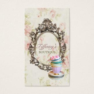 moda floral inglesa elegante de las tazas de té tarjeta de negocios