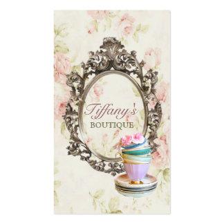 moda floral inglesa elegante de las tazas de té tarjetas de visita