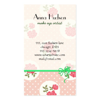 Moda lamentable, lunares, rosas - verde rosado tarjetas de visita