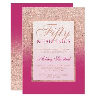 Moda magenta 50 del falso brillo color de rosa del invitación 12,7 x 17,8 cm