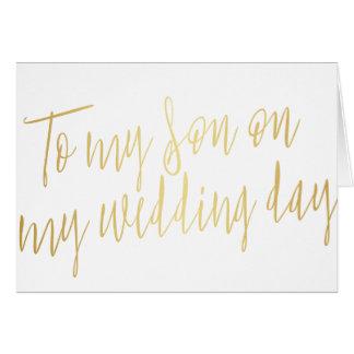 "Moda moderna ""a mi hijo en mi día de boda "" tarjeta de felicitación"