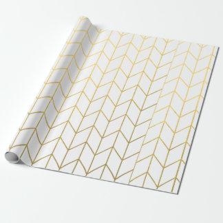 Moda moderna blanca de Chevron del oro amarillo Papel De Regalo