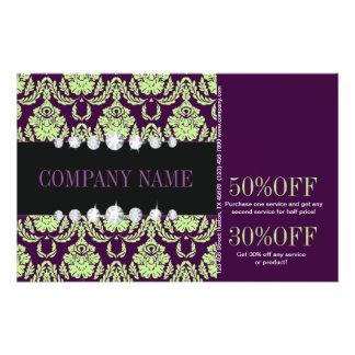 moda púrpura del salón de belleza del damasco de folleto 14 x 21,6 cm