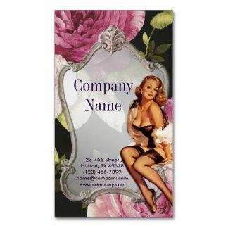 moda retra femenina color de rosa del artista de tarjetas de visita magnéticas (paquete de 25)