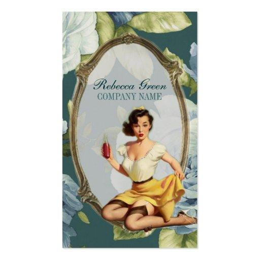 moda retra femenina del vintage floral azul tarjetas personales