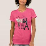 Moda romántica del vintage rosado femenino elegant camiseta