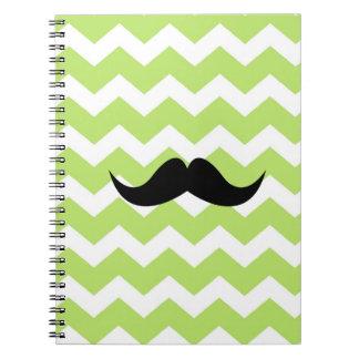 Moda verde del bigote del negro del modelo de zigz cuaderno