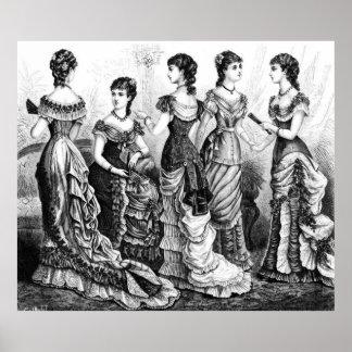 Modas blancos y negros del Victorian Póster