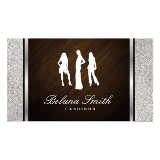 Modas/cuero blanco y madera/borde de plata tarjetas de visita