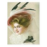Modas del vintage y de la antigüedad, gorras, postal
