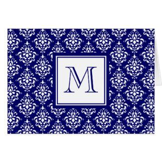 Modelo 1 del damasco de los azules marinos con el tarjeta