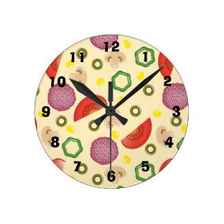 Modelo 2 de la pizza reloj redondo mediano