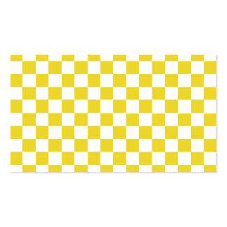 Modelo a cuadros amarillo tarjetas de visita