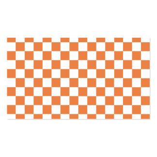 Modelo a cuadros anaranjado tarjetas de visita