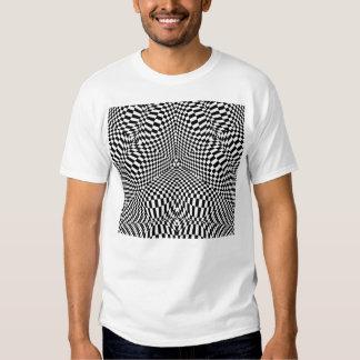 Modelo a cuadros blanco y negro abstracto camiseta