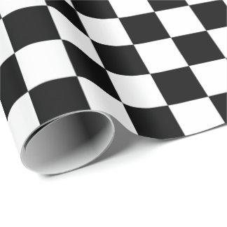 Modelo a cuadros blanco y negro del tablero papel de regalo