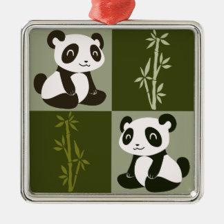 Modelo a cuadros del brote de bambú de la panda adornos de navidad