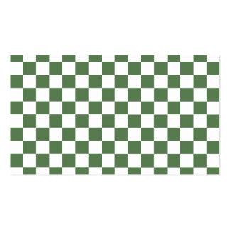 Modelo a cuadros verde tarjetas de visita