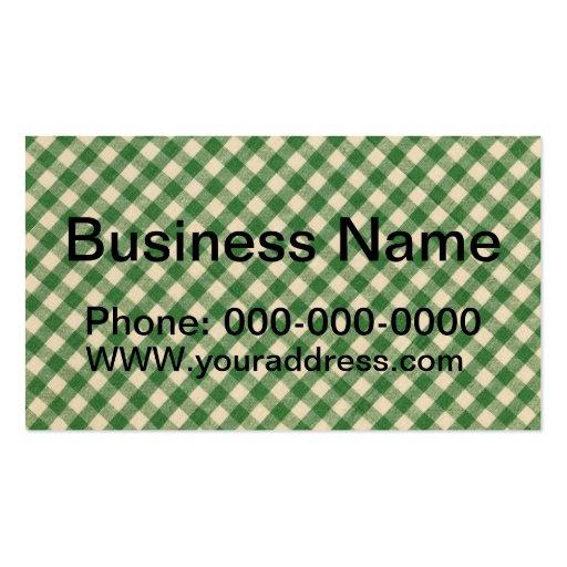 Modelo a cuadros verde y blanco de la tela de la t tarjeta de visita