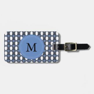 Modelo abstracto azul del escarabajo del monograma etiquetas para maletas