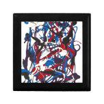 Modelo abstracto azul, rojo, negro, blanco. cajas de regalo