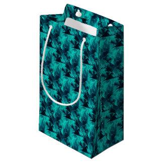 Modelo abstracto brillante del azul y del trullo bolsa de regalo pequeña