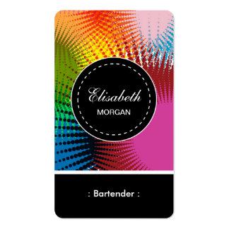 Modelo abstracto colorido del camarero tarjetas de visita