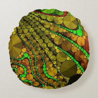 Modelo abstracto de Rasta Bling Cojín Redondo