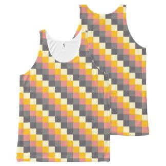 Modelo abstracto del color de la rejilla camiseta de tirantes con estampado integral