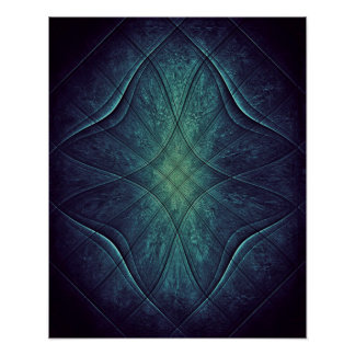Modelo abstracto del verde azul póster