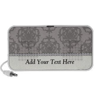 modelo adornado del damasco del gris de plata notebook altavoces