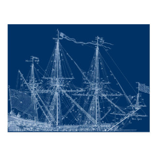 Modelo alto azul del velero postal