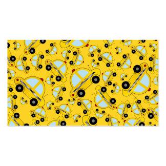 Modelo amarillo del taxi tarjetas de visita