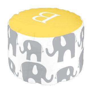 Modelo amarillo gris del elefante del monograma puf