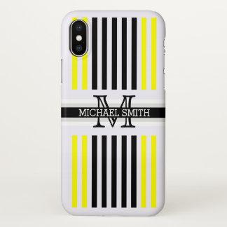 Modelo amarillo negro moderno de las rayas del funda para iPhone x
