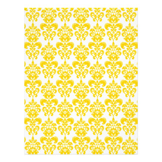 Modelo amarillo y blanco 2 del damasco del vintage folleto 21,6 x 28 cm