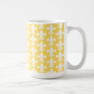 Modelo amarillo y blanco de la flor de lis taza