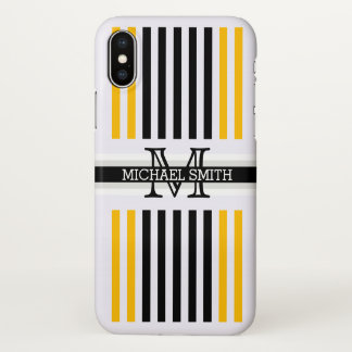 Modelo ambarino negro moderno de las rayas del funda para iPhone x