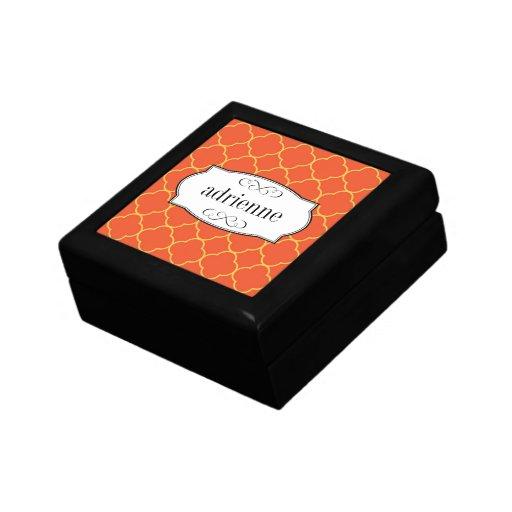 Modelo anaranjado de la hoja del trébol del quatre cajas de recuerdo