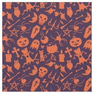 Modelo anaranjado de los elementos de Halloween Tela