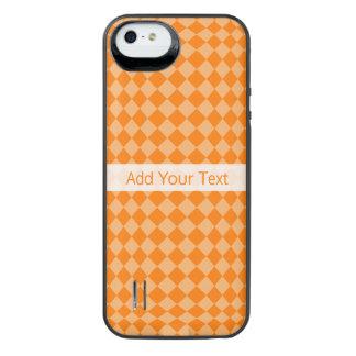 Modelo anaranjado del diamante de la combinación funda con batería para iPhone SE/5/5s