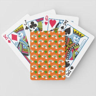 Modelo anaranjado lindo de los tréboles de los arc baraja cartas de poker